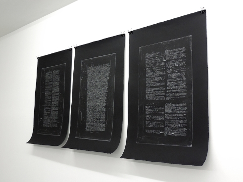 Writings on art_ etching, silver ink on Arches paper, 3 sheets each 70 x 110 cm_2016
